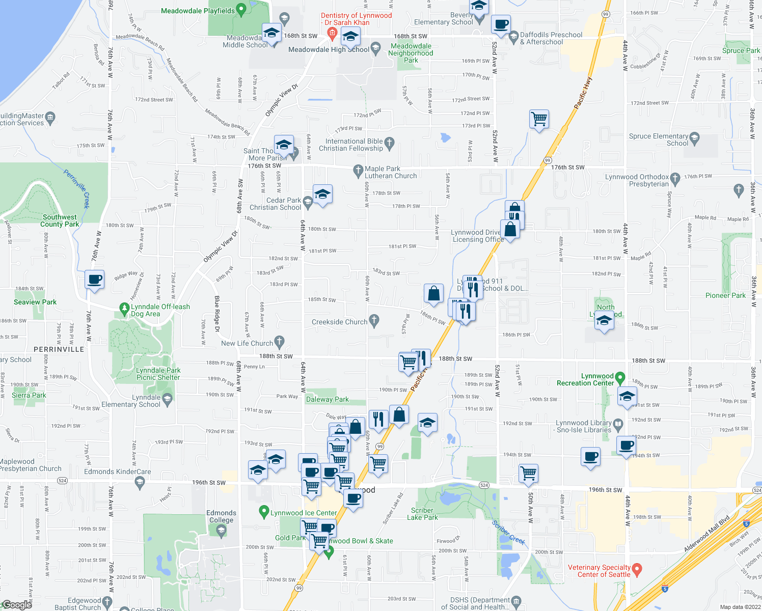 map of restaurants, bars, coffee shops, grocery stores, and more near 5825 186th Place Southwest in Lynnwood