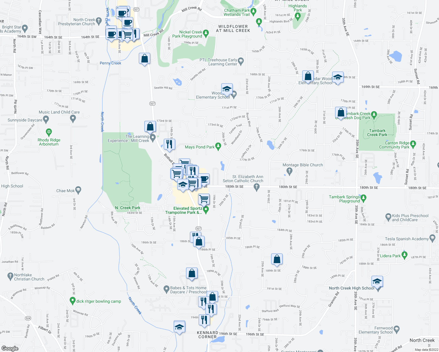 map of restaurants, bars, coffee shops, grocery stores, and more near 17825 20th Ave SE in Bothell