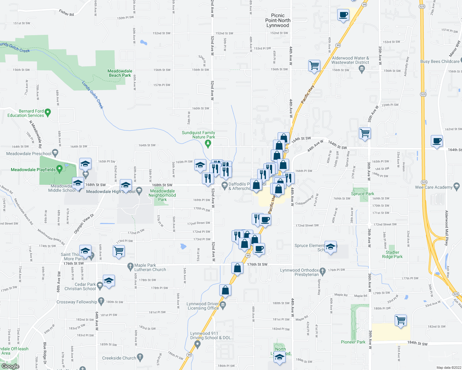 map of restaurants, bars, coffee shops, grocery stores, and more near 5011 168th Street Southwest in Lynnwood