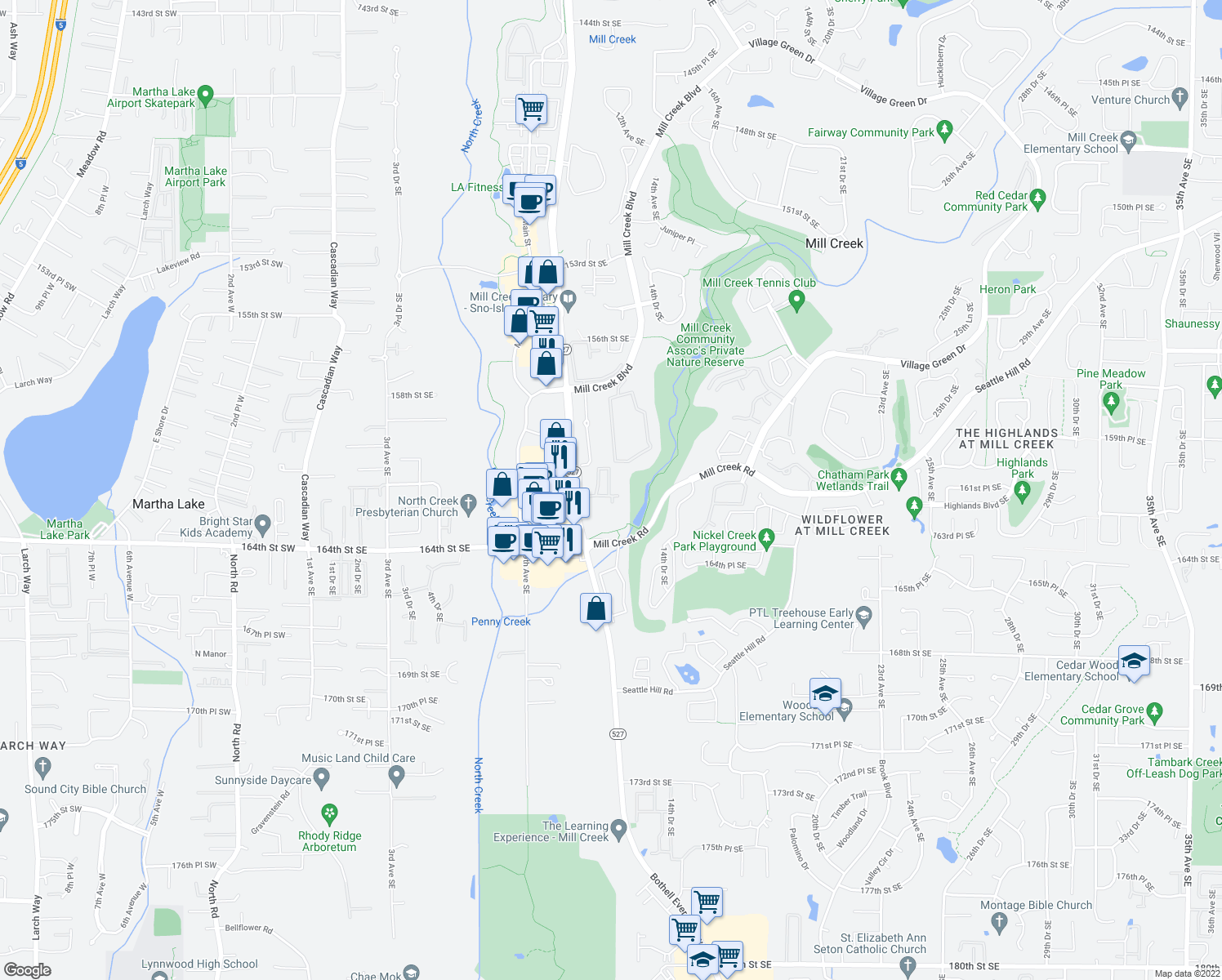 map of restaurants, bars, coffee shops, grocery stores, and more near 16101 Bothell Everett Highway in Mill Creek