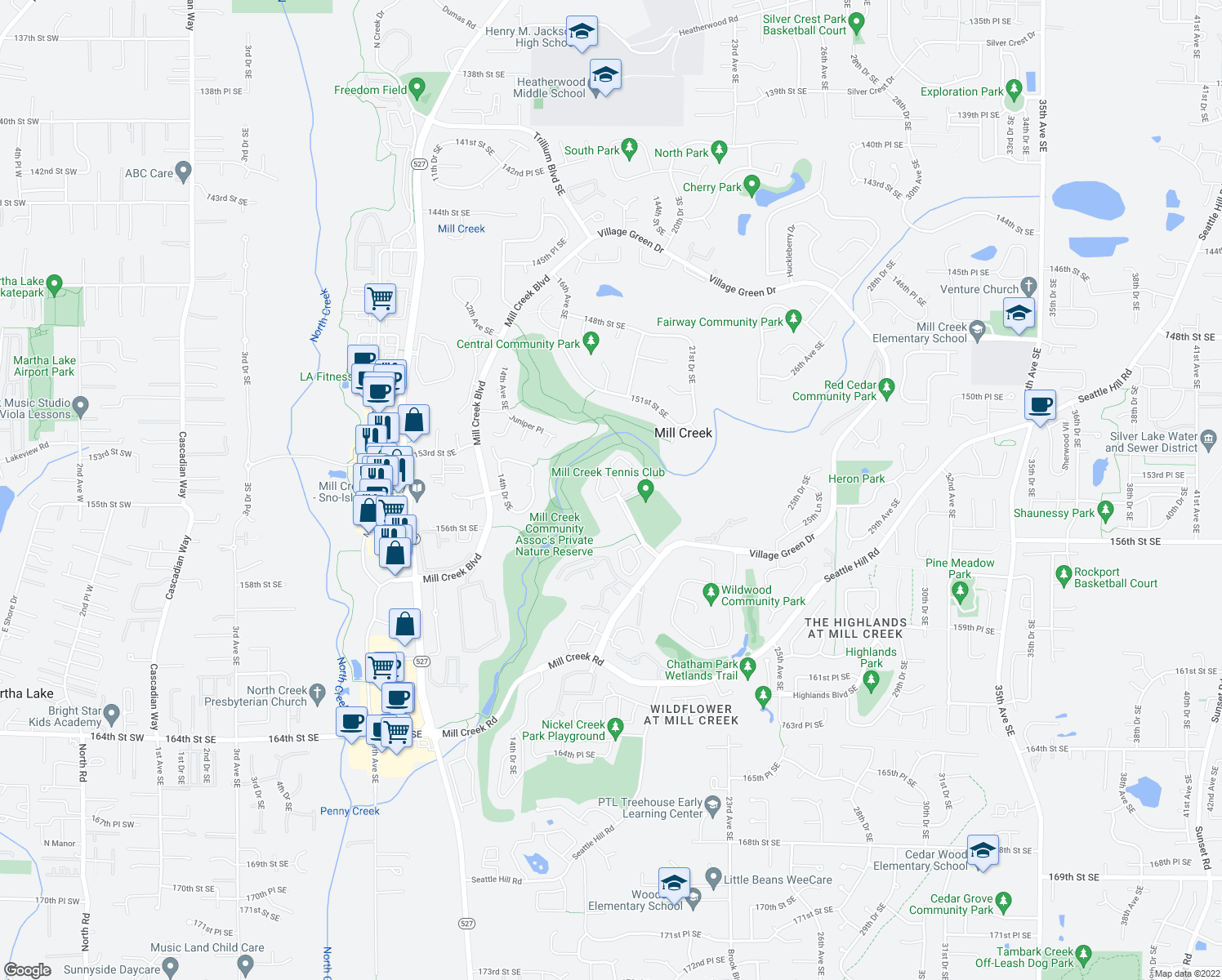 map of restaurants, bars, coffee shops, grocery stores, and more near 15433 Country Club Drive in Mill Creek