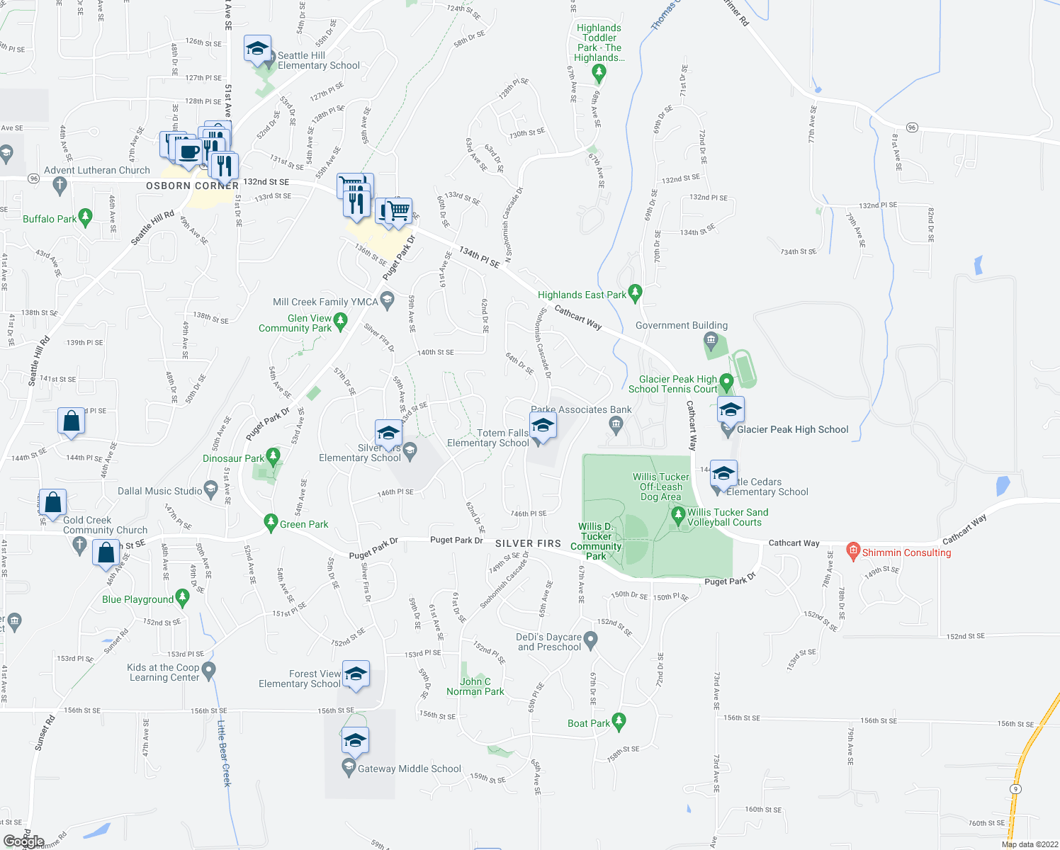 map of restaurants, bars, coffee shops, grocery stores, and more near 6416 142nd Place Southeast in Snohomish