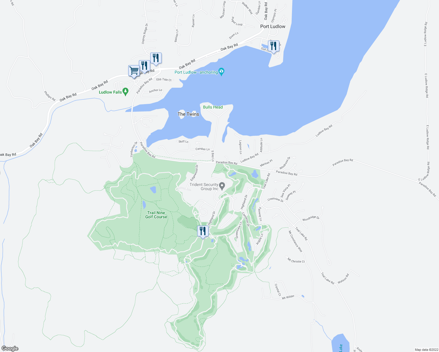 map of restaurants, bars, coffee shops, grocery stores, and more near 210 Dunsmuir Road in Port Ludlow