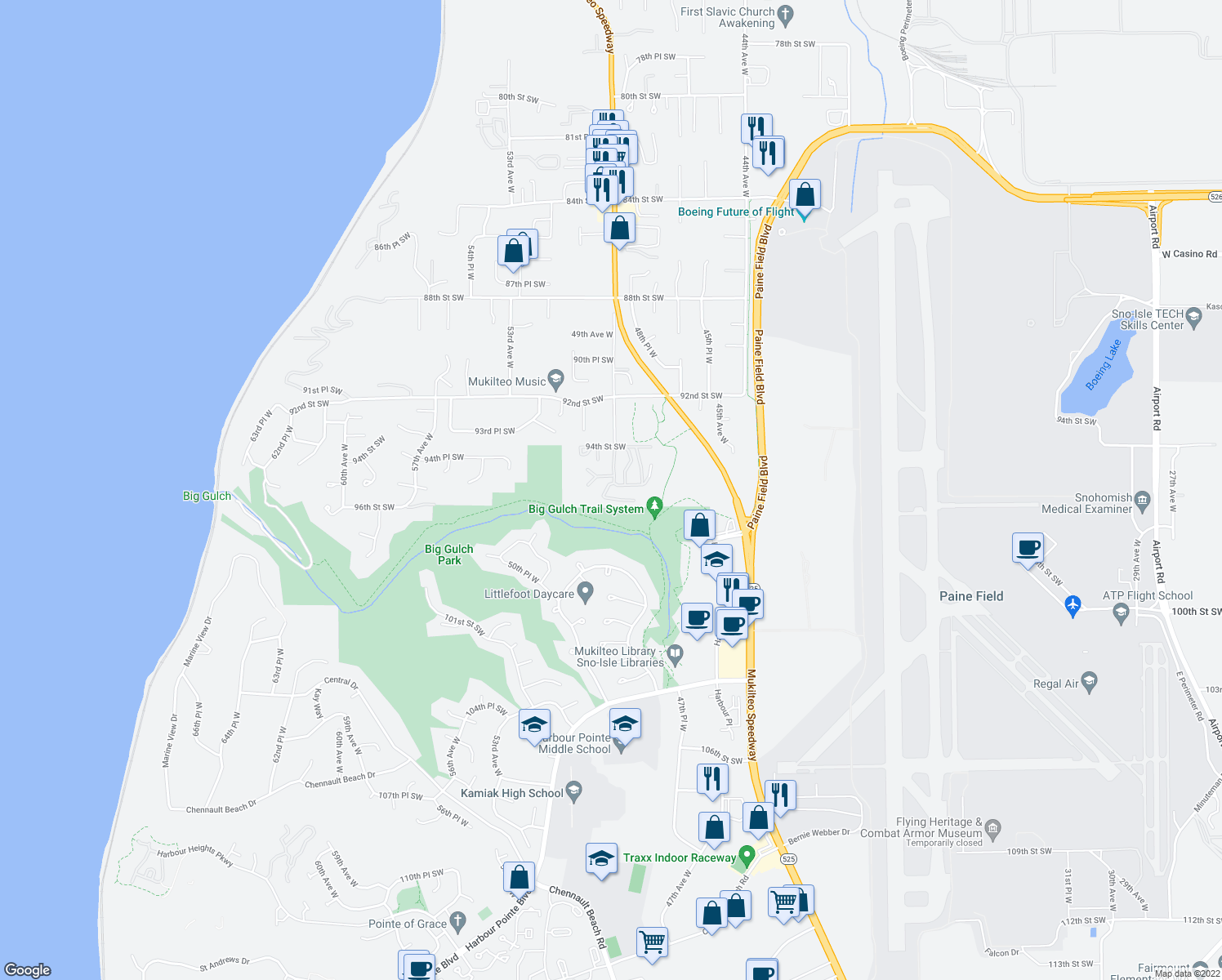 map of restaurants, bars, coffee shops, grocery stores, and more near 9518 49th Avenue West in Mukilteo