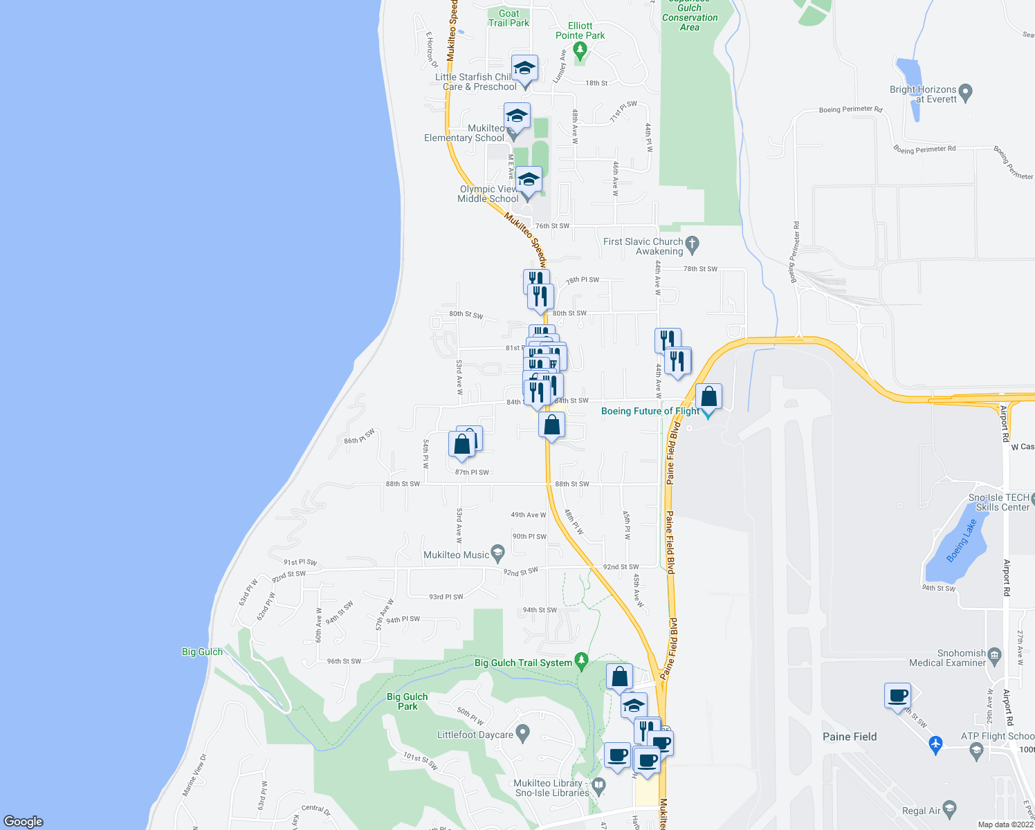 map of restaurants, bars, coffee shops, grocery stores, and more near 5025 84th Street Southwest in Mukilteo