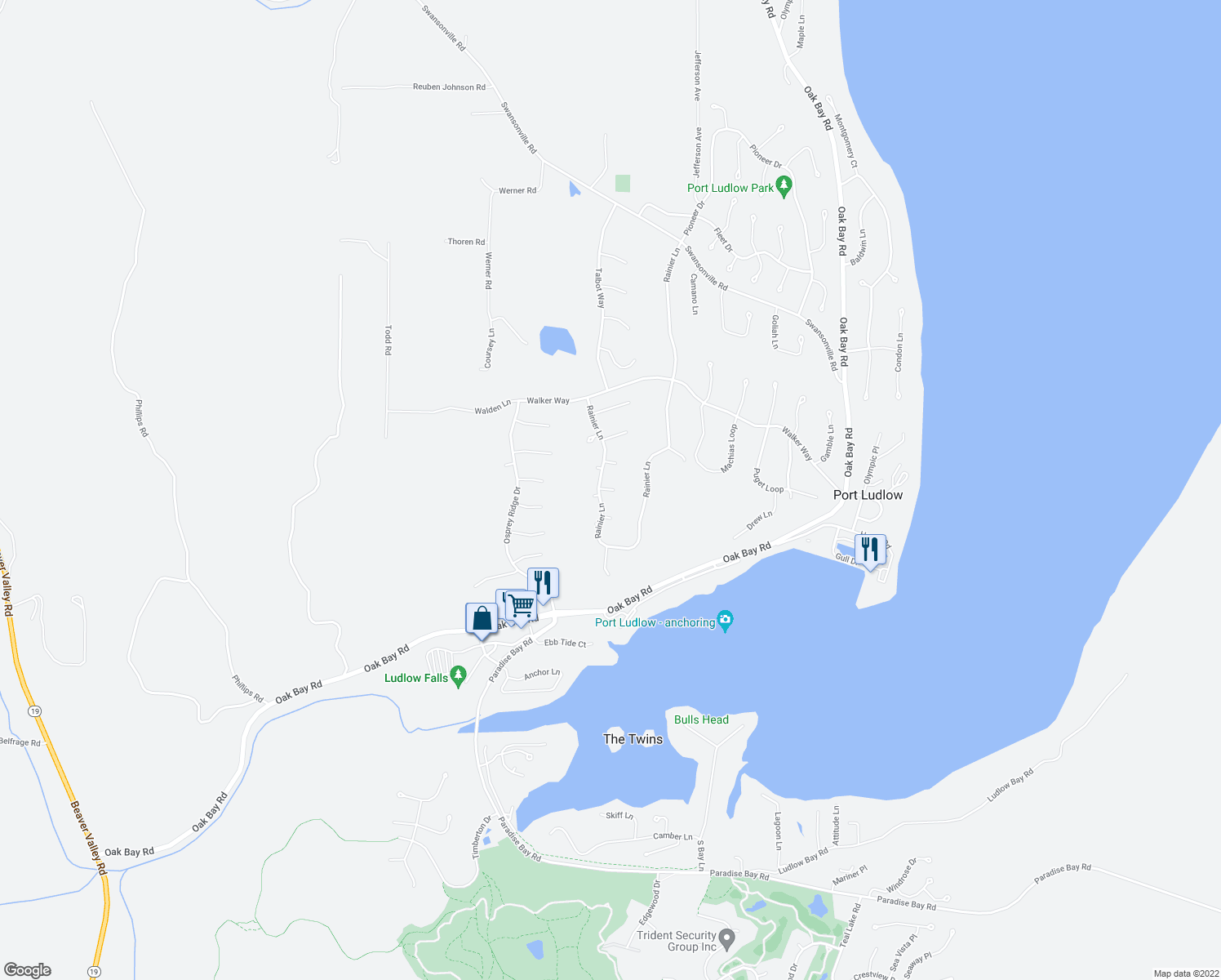 map of restaurants, bars, coffee shops, grocery stores, and more near 11 Topsail Lane in Port Ludlow