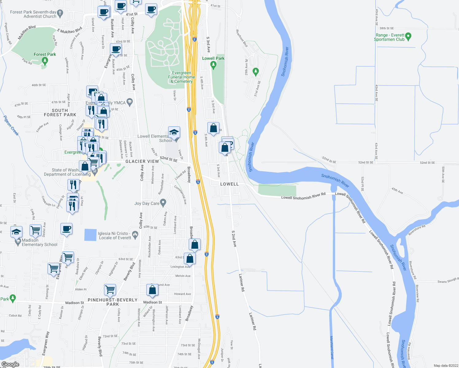 map of restaurants, bars, coffee shops, grocery stores, and more near South 2nd Avenue in Everett