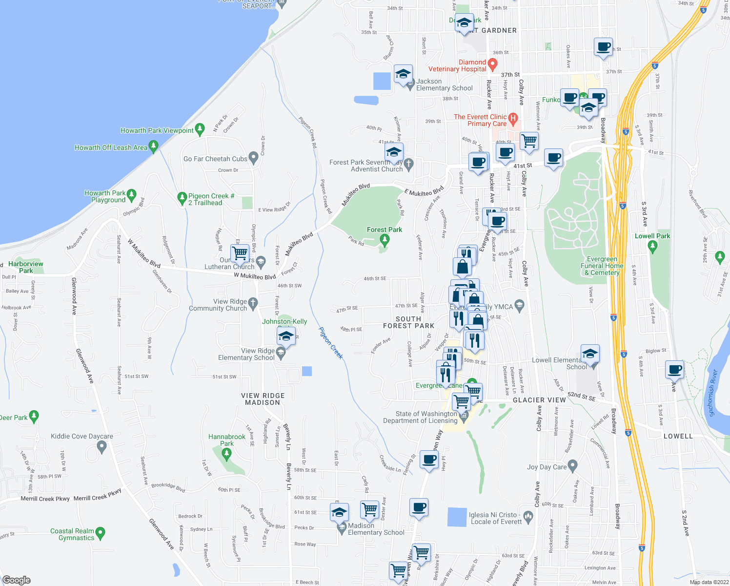 map of restaurants, bars, coffee shops, grocery stores, and more near 520 46th Street Southeast in Everett
