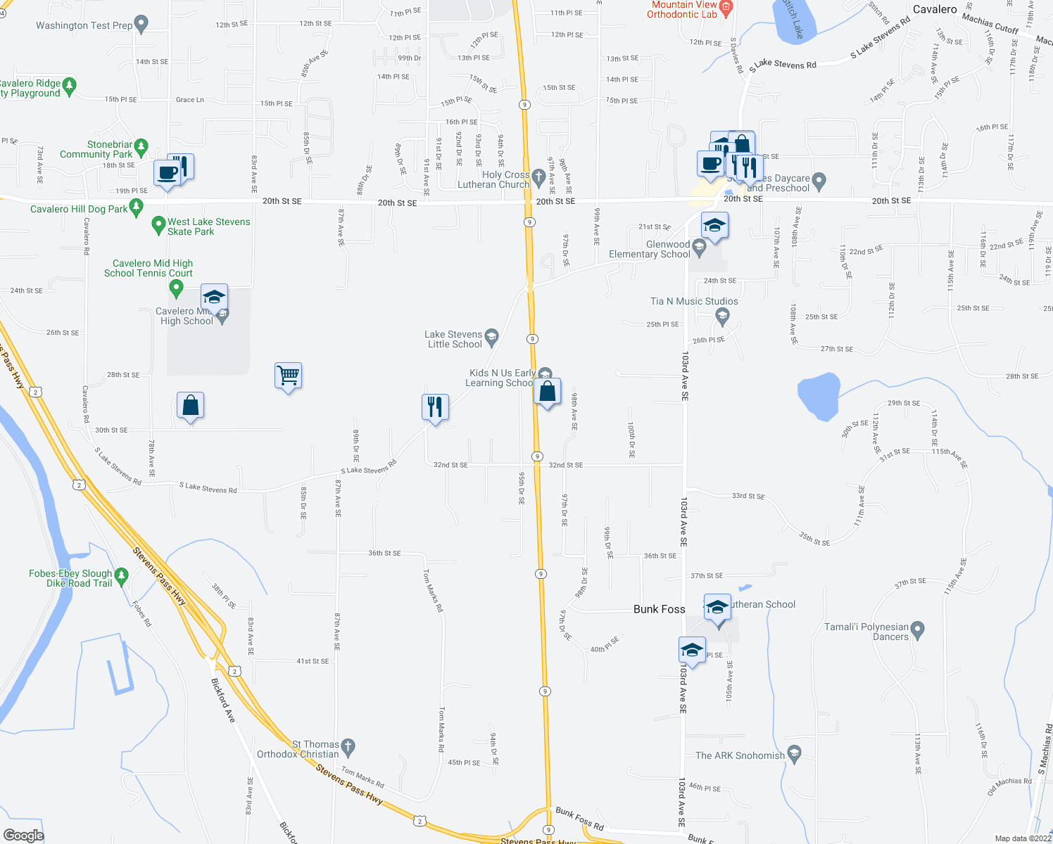 map of restaurants, bars, coffee shops, grocery stores, and more near 3003 95th Drive Southeast in Lake Stevens
