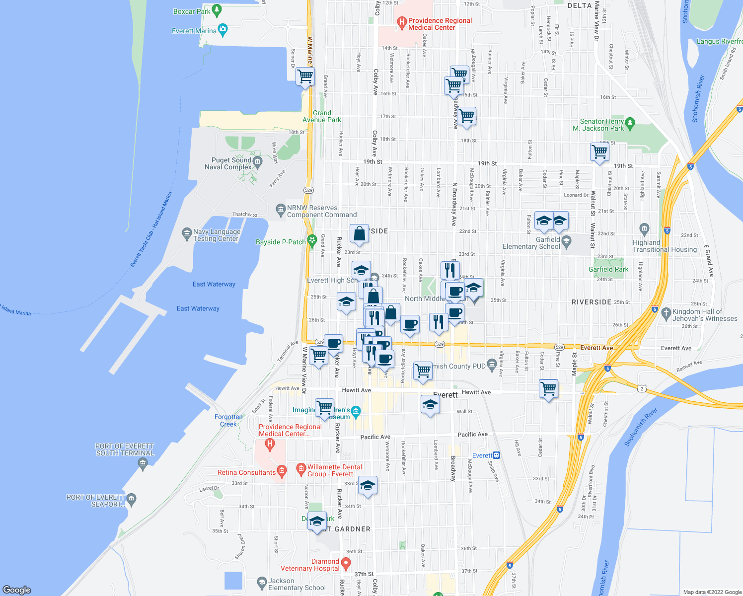 map of restaurants, bars, coffee shops, grocery stores, and more near Colby Avenue & 25th Street in Everett