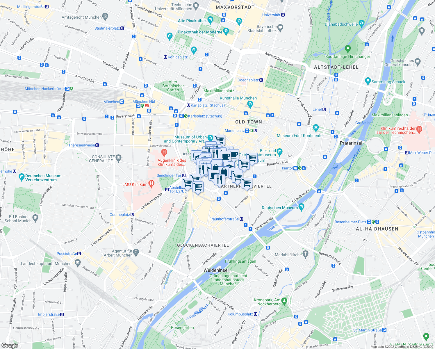 map of restaurants, bars, coffee shops, grocery stores, and more near 16 Unterer Anger in Munich