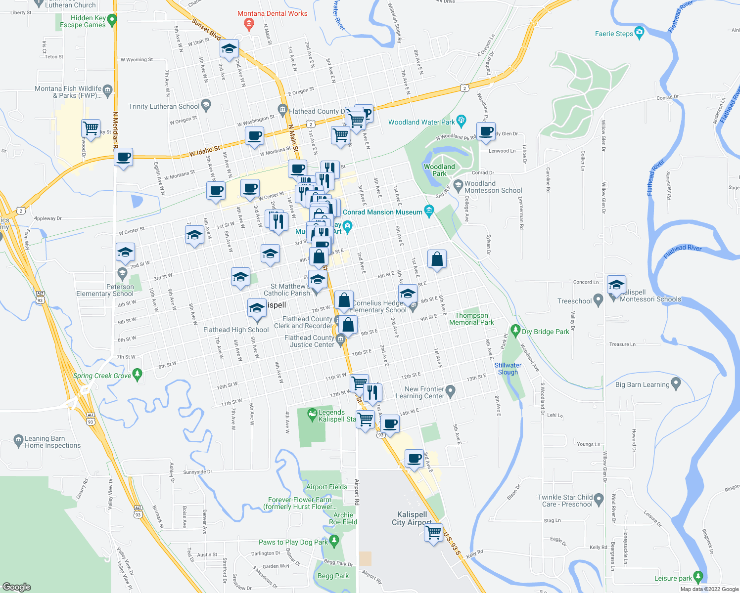 map of restaurants, bars, coffee shops, grocery stores, and more near 2nd Avenue East in Kalispell