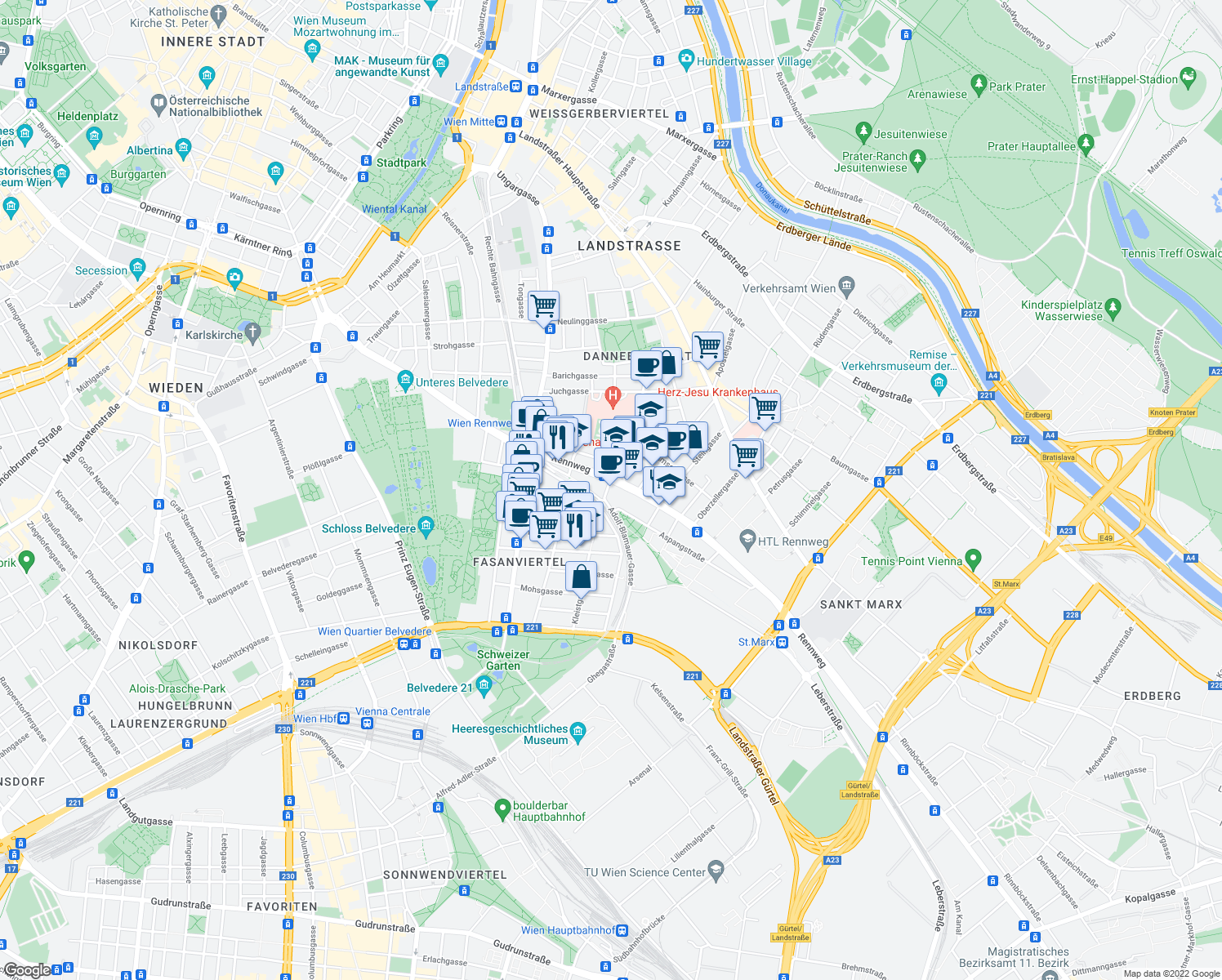 map of restaurants, bars, coffee shops, grocery stores, and more near 1 Kleistgasse in Vienna