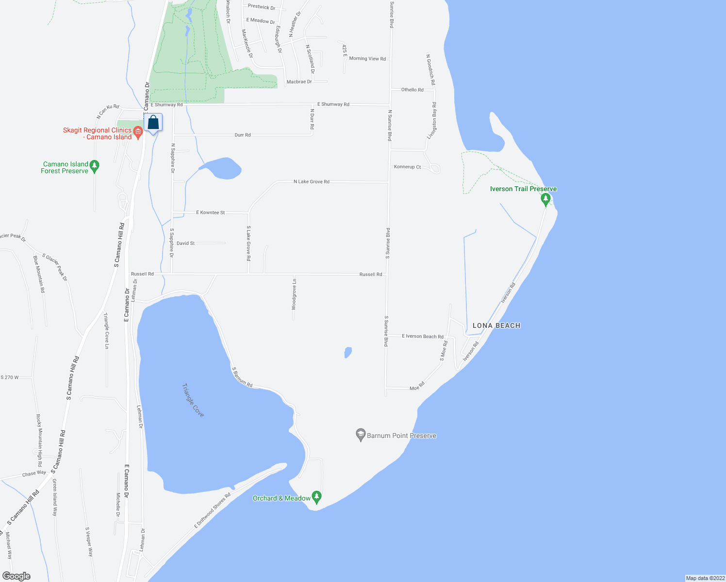 map of restaurants, bars, coffee shops, grocery stores, and more near 466 Russell Road in Camano Island
