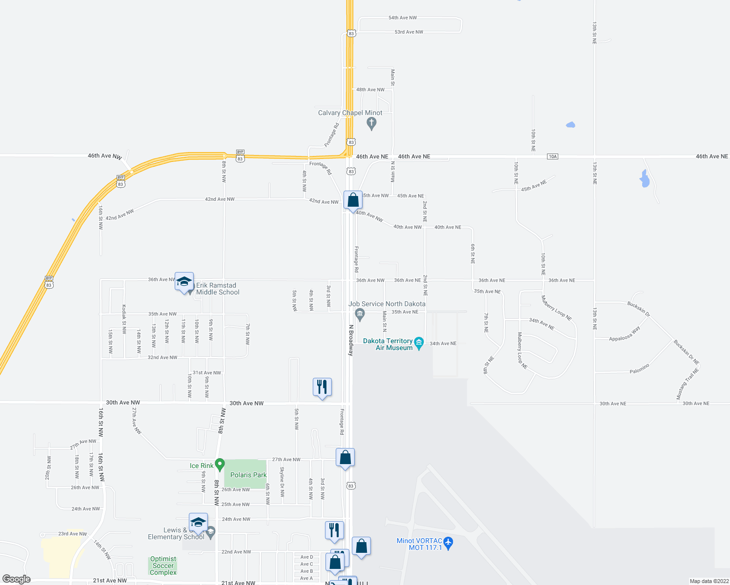 map of restaurants, bars, coffee shops, grocery stores, and more near 3514 North Broadway in Minot