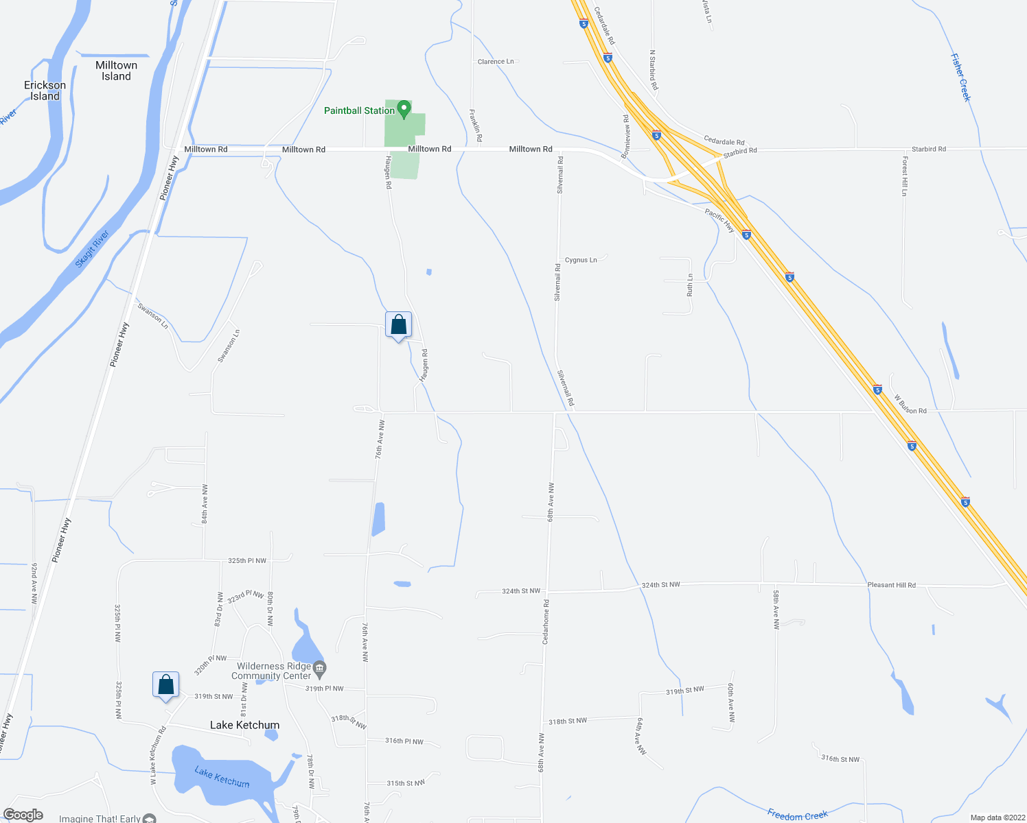 map of restaurants, bars, coffee shops, grocery stores, and more near 19381 County Line Road in Stanwood