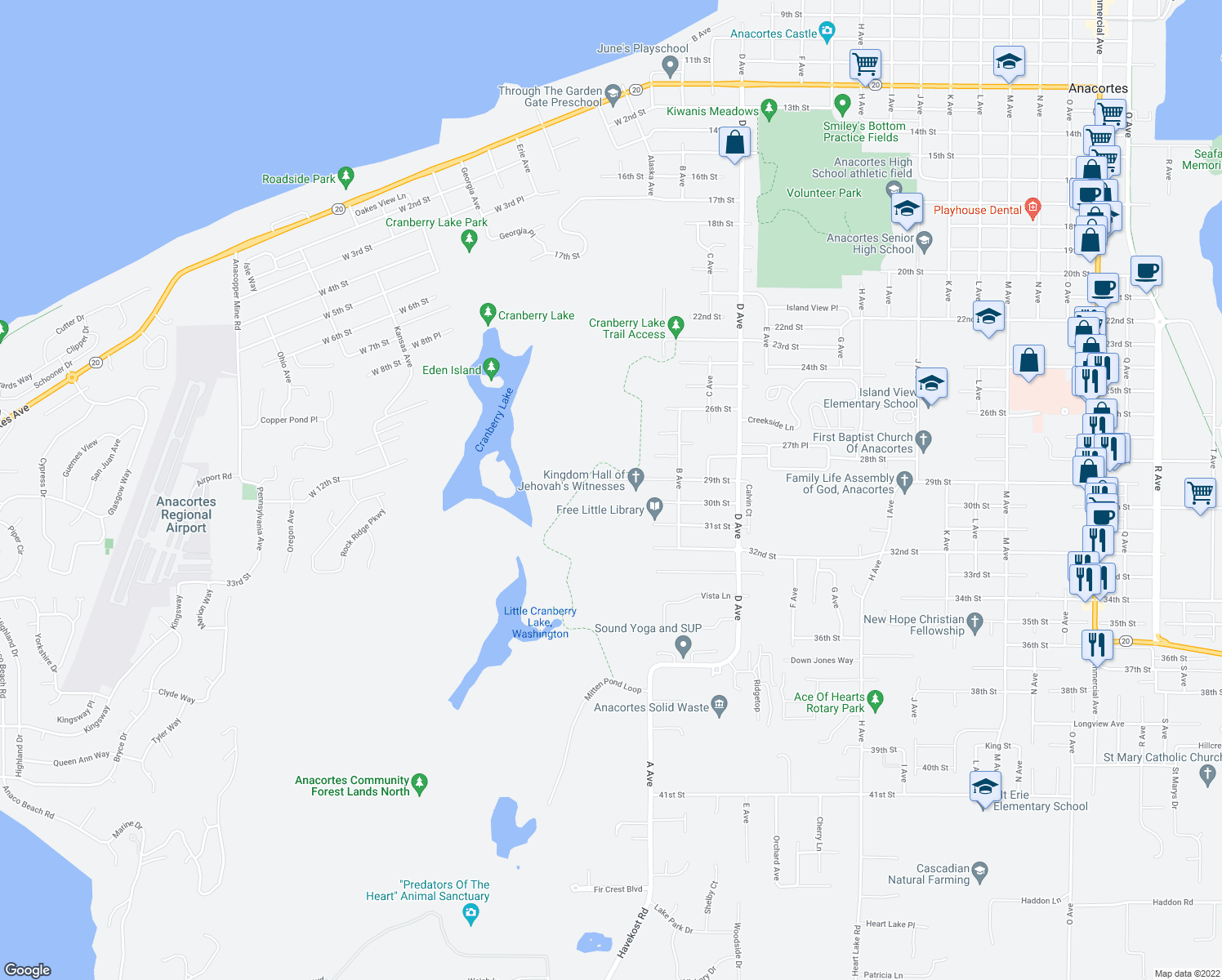 map of restaurants, bars, coffee shops, grocery stores, and more near 2517 29th Street in Anacortes