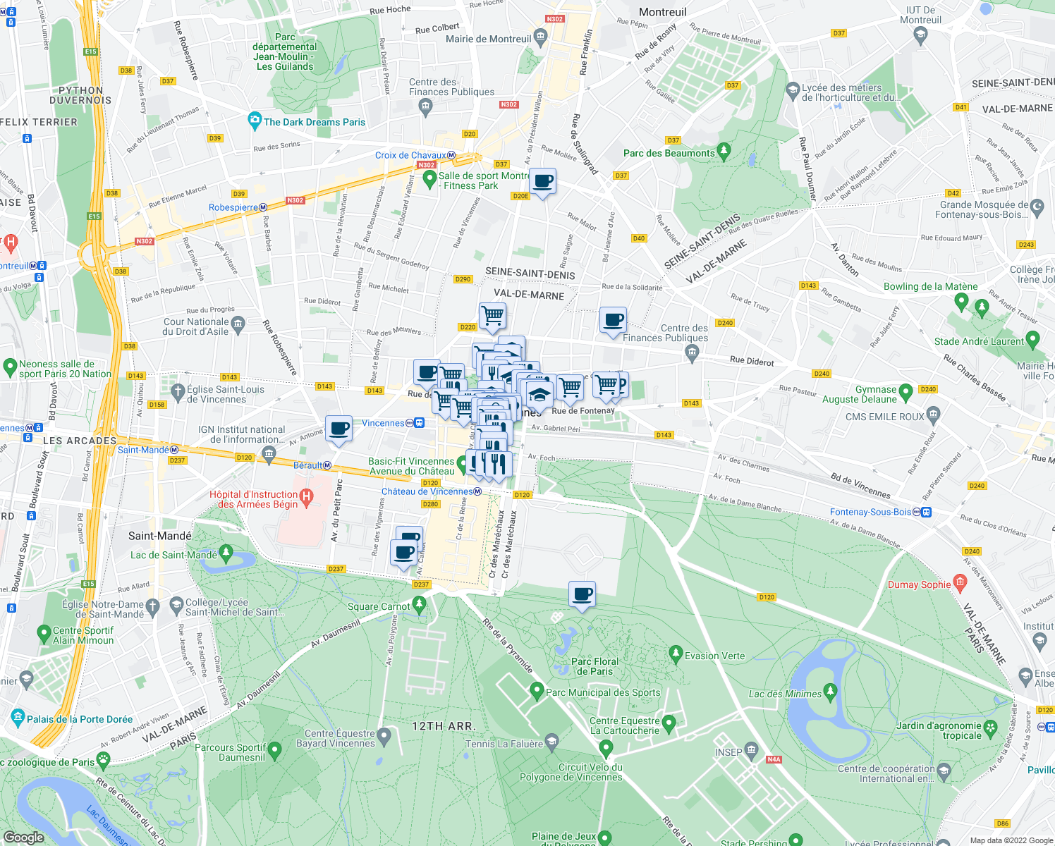 map of restaurants, bars, coffee shops, grocery stores, and more near 2 Rue de Condé-sur-Noireau in Vincennes