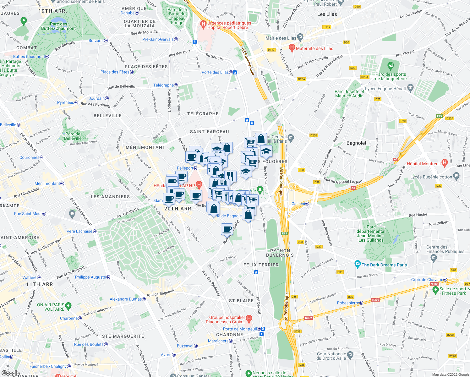 map of restaurants, bars, coffee shops, grocery stores, and more near 7 Rue Paul Strauss in Paris