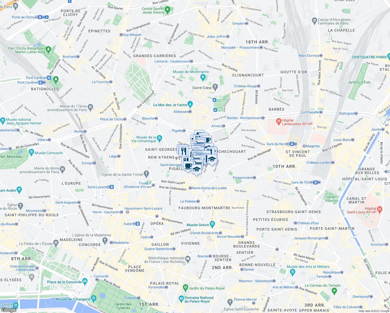 map of restaurants, bars, coffee shops, grocery stores, and more near 37 Rue des Martyrs in Paris