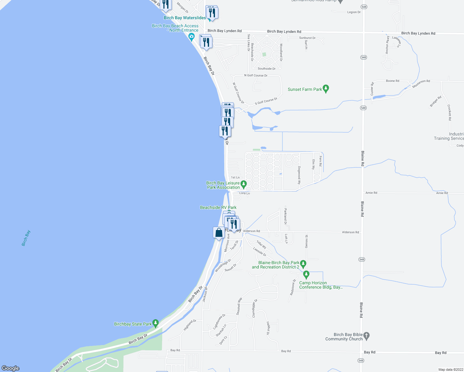 map of restaurants, bars, coffee shops, grocery stores, and more near 7714 Birch Bay Drive in Birch Bay
