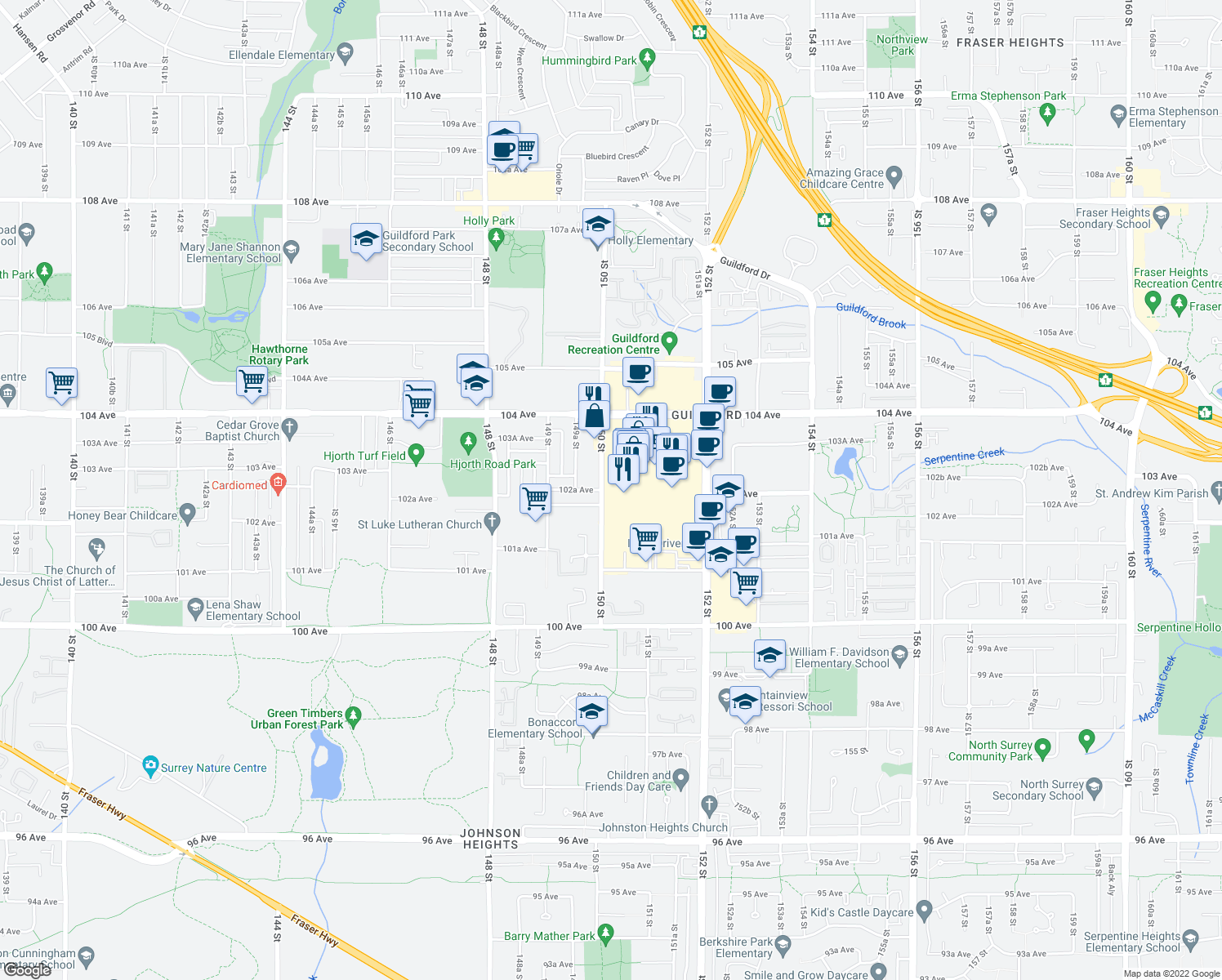 map of restaurants, bars, coffee shops, grocery stores, and more near Guildford Town Centre in Surrey