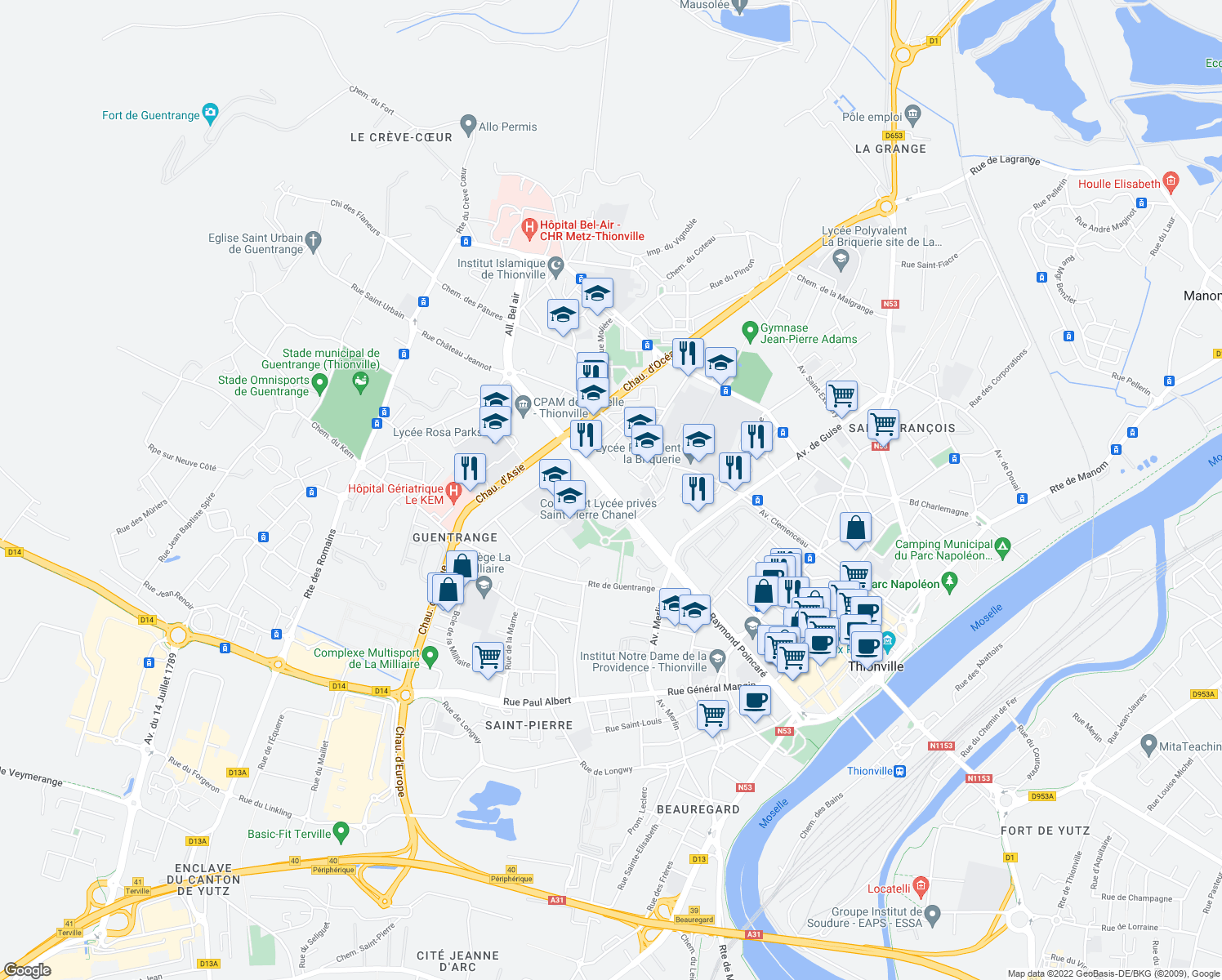 map of restaurants, bars, coffee shops, grocery stores, and more near 47 Allée de la Libération in Thionville