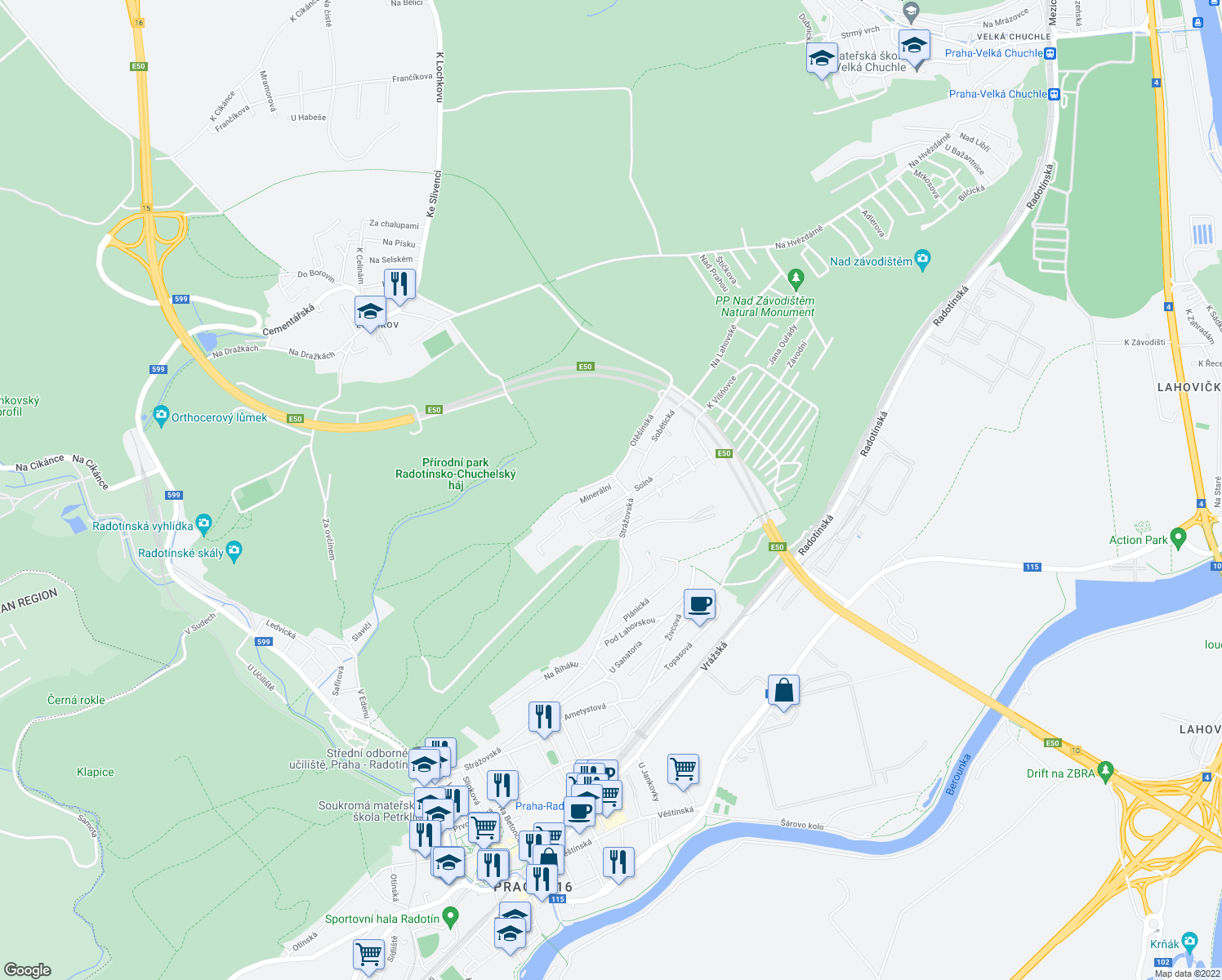 map of restaurants, bars, coffee shops, grocery stores, and more near 3 Minerální in Prague