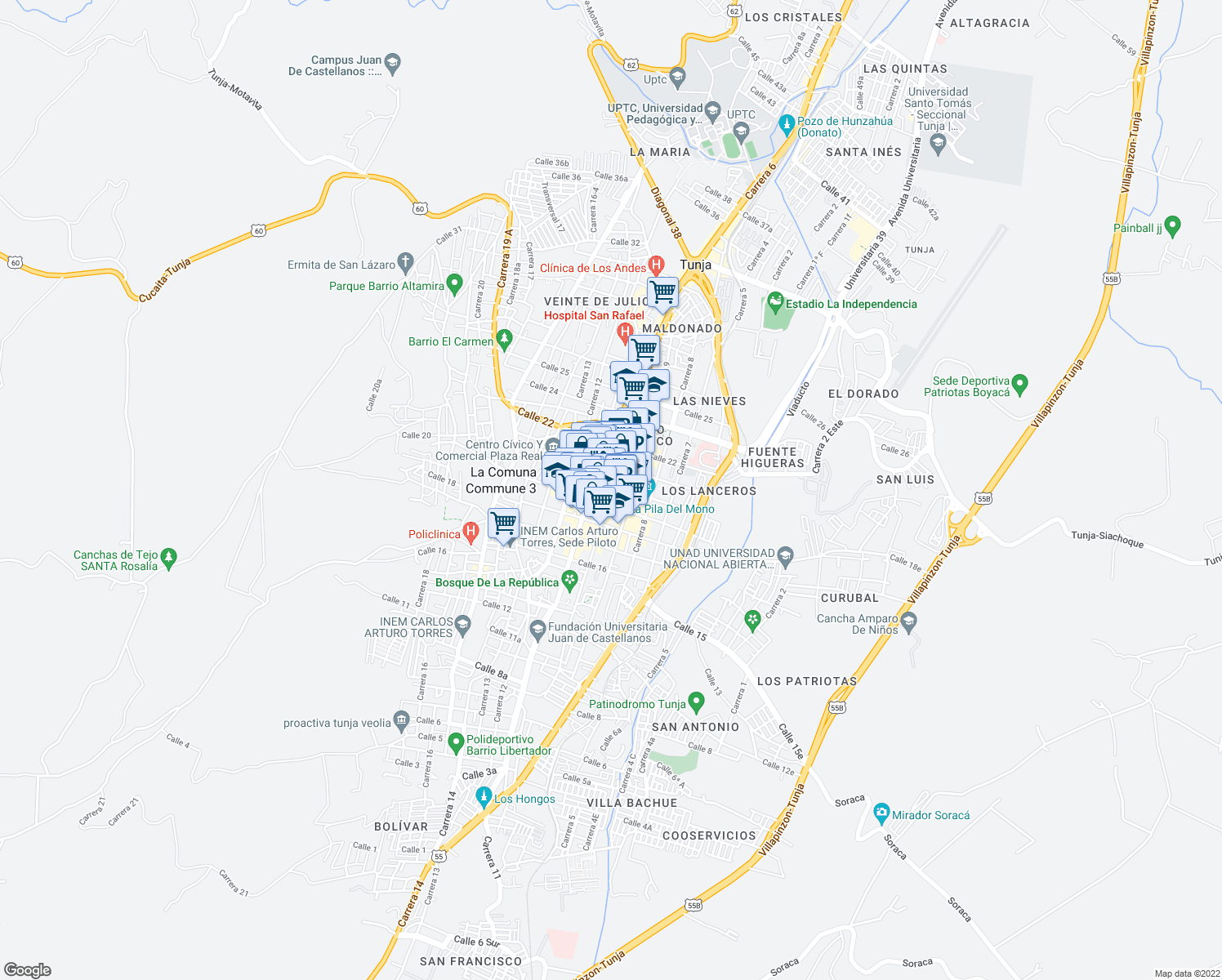 map of restaurants, bars, coffee shops, grocery stores, and more near 9-95 Calle 19 in Tunja
