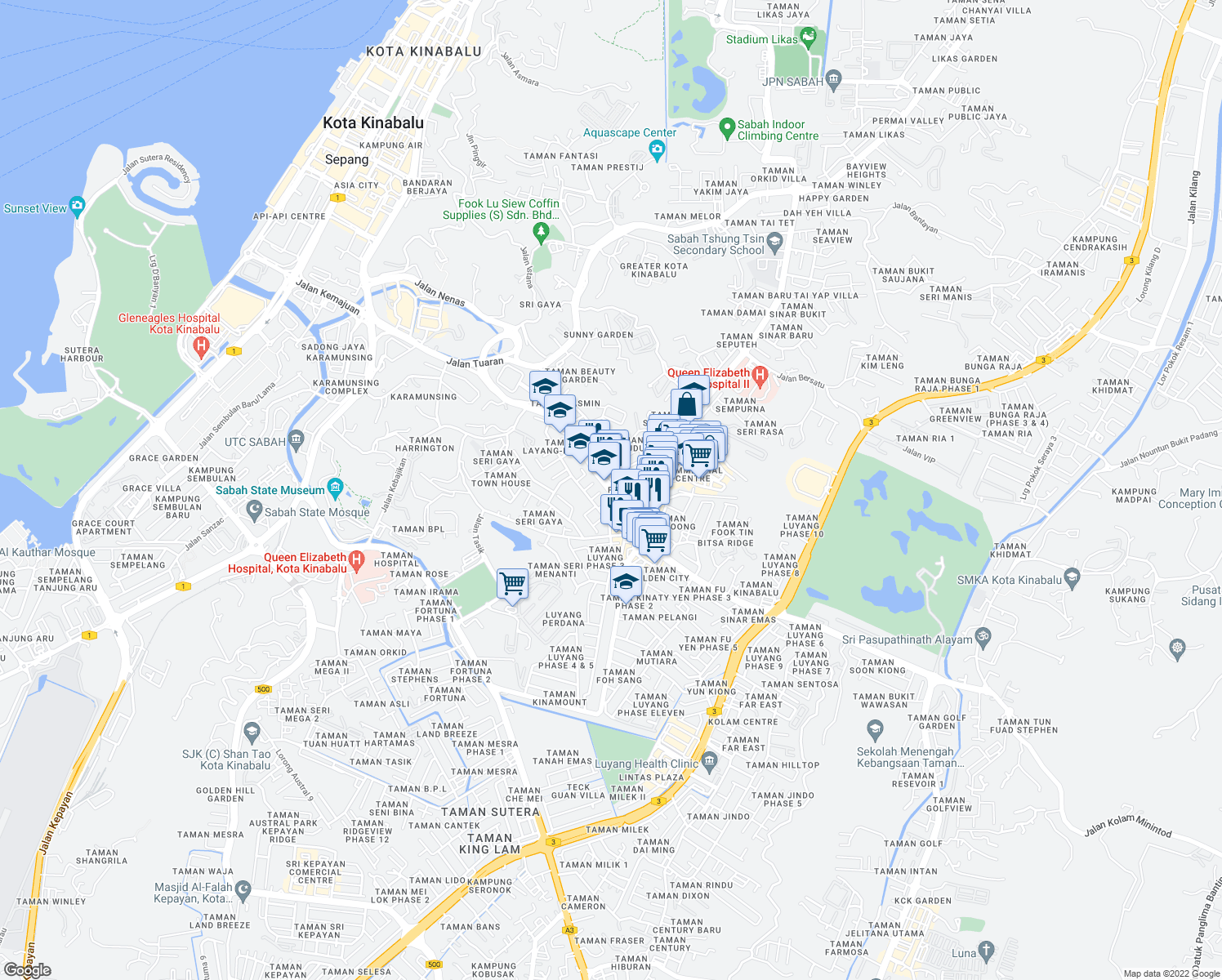 map of restaurants, bars, coffee shops, grocery stores, and more near Jalan Kolam in Kota Kinabalu