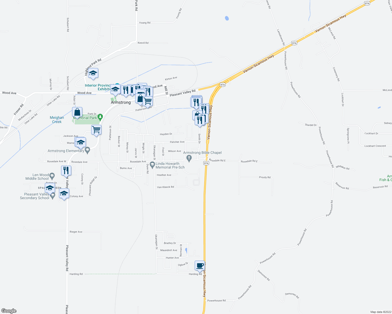 map of restaurants, bars, coffee shops, grocery stores, and more near 2805 Smith Drive in Armstrong