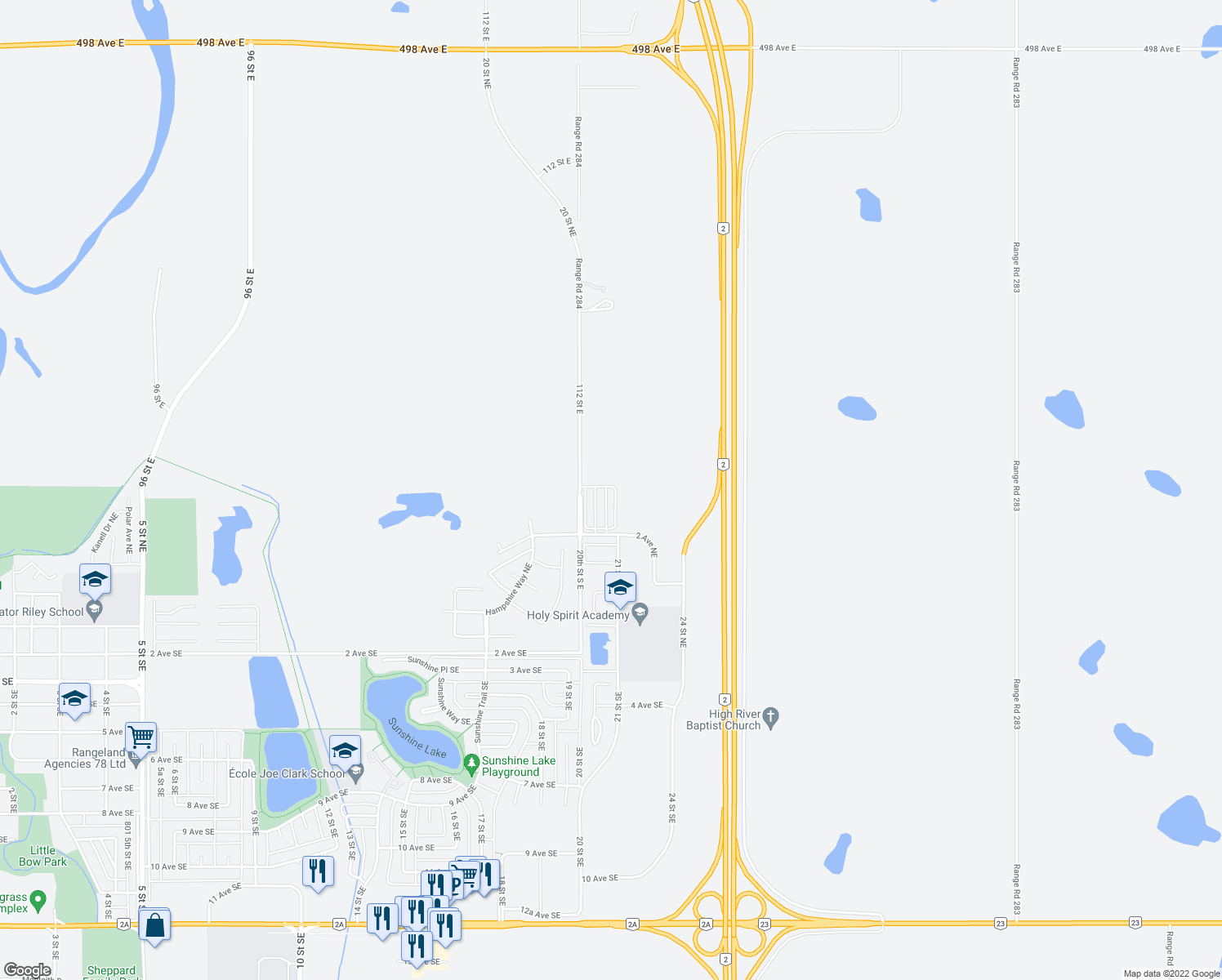 map of restaurants, bars, coffee shops, grocery stores, and more near 208 Sunrise Terrace Northeast in High River