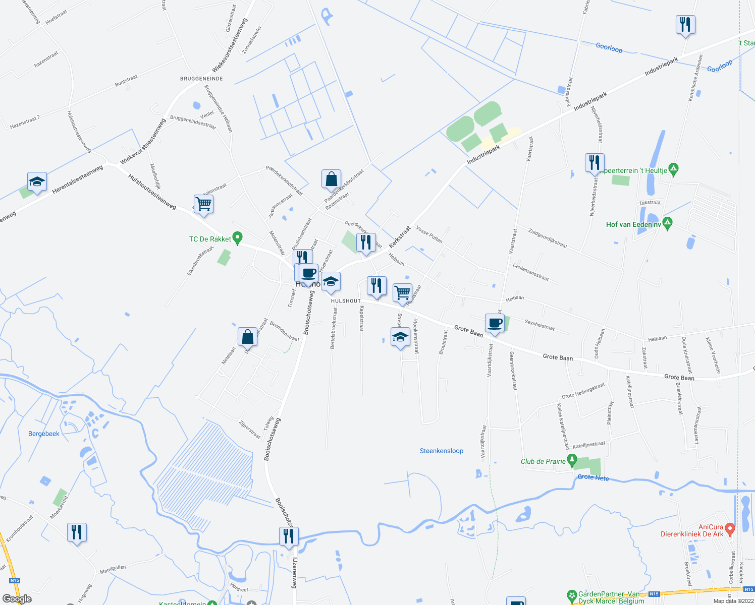 map of restaurants, bars, coffee shops, grocery stores, and more near 145 Grote Baan in Hulshout