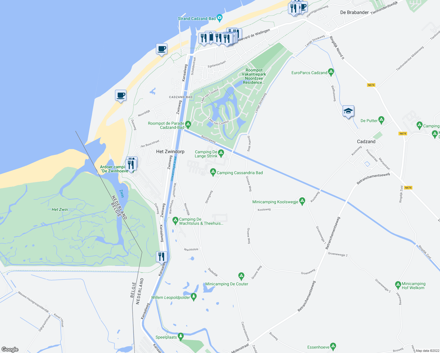 map of restaurants, bars, coffee shops, grocery stores, and more near 4 Strengweg in Retranchement