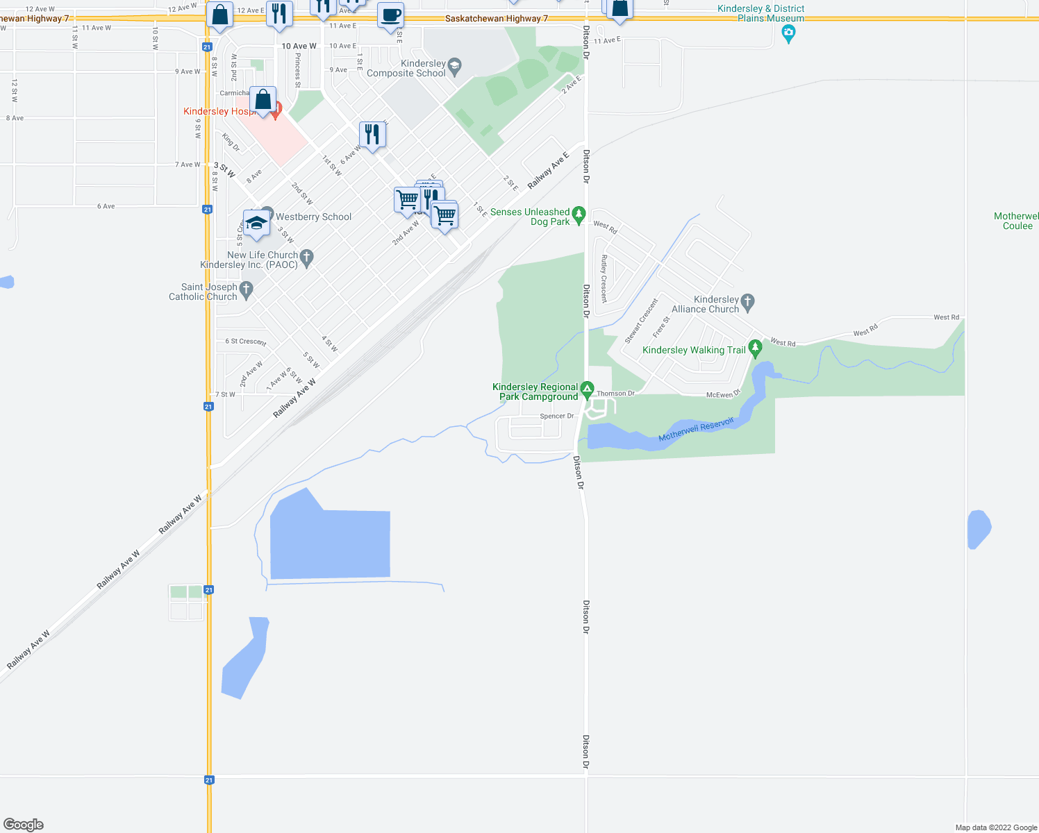 map of restaurants, bars, coffee shops, grocery stores, and more near 61 Spencer Drive in Kindersley