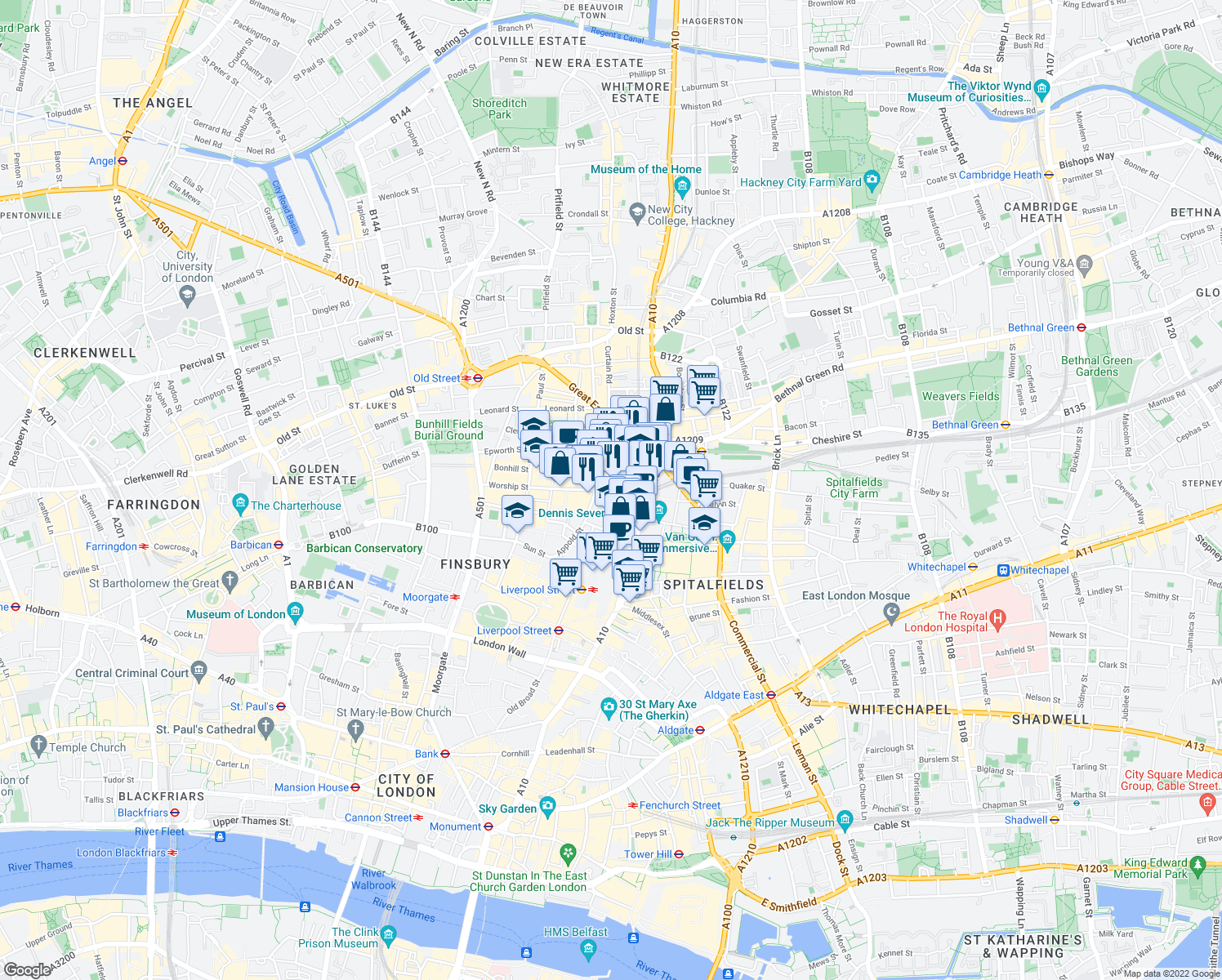 map of restaurants, bars, coffee shops, grocery stores, and more near Worship Street in Greater London
