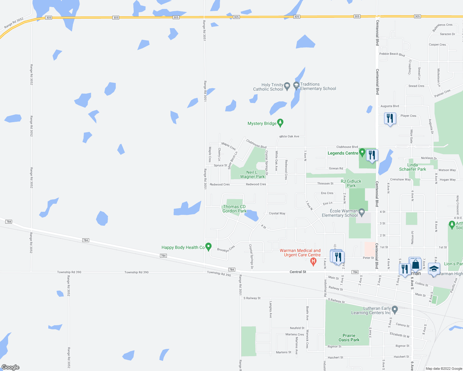 map of restaurants, bars, coffee shops, grocery stores, and more near 517 Redwood Crescent in Warman