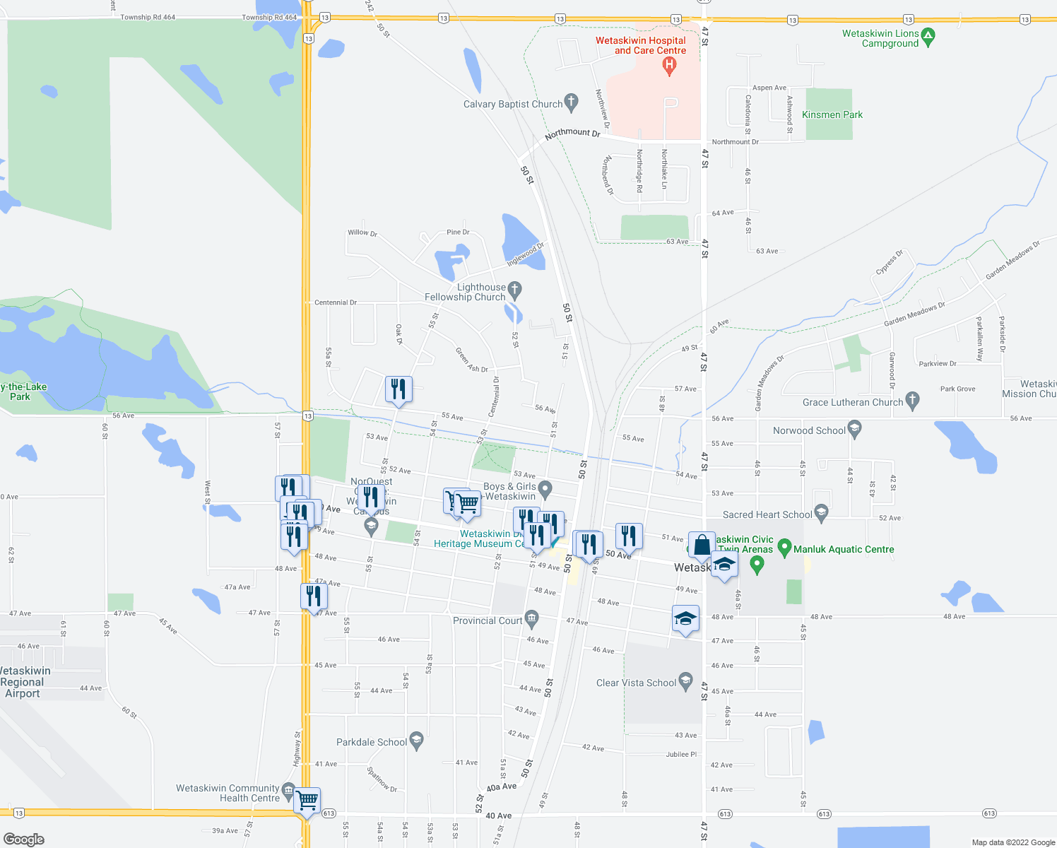 map of restaurants, bars, coffee shops, grocery stores, and more near 5114 55 Avenue in Wetaskiwin