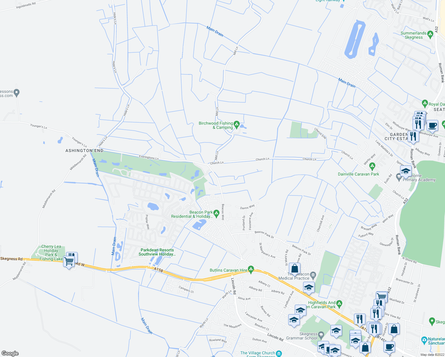 map of restaurants, bars, coffee shops, grocery stores, and more near Beacon Way in Lincolnshire