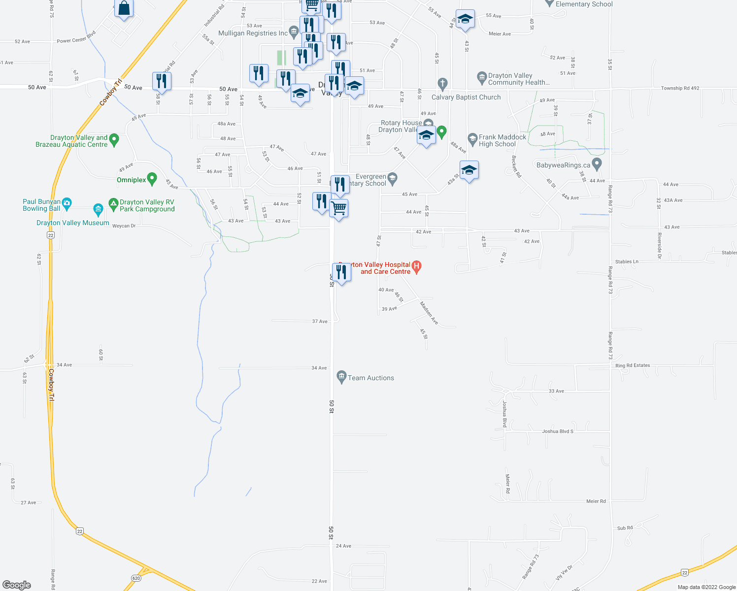map of restaurants, bars, coffee shops, grocery stores, and more near 4004 47 Street in Drayton Valley