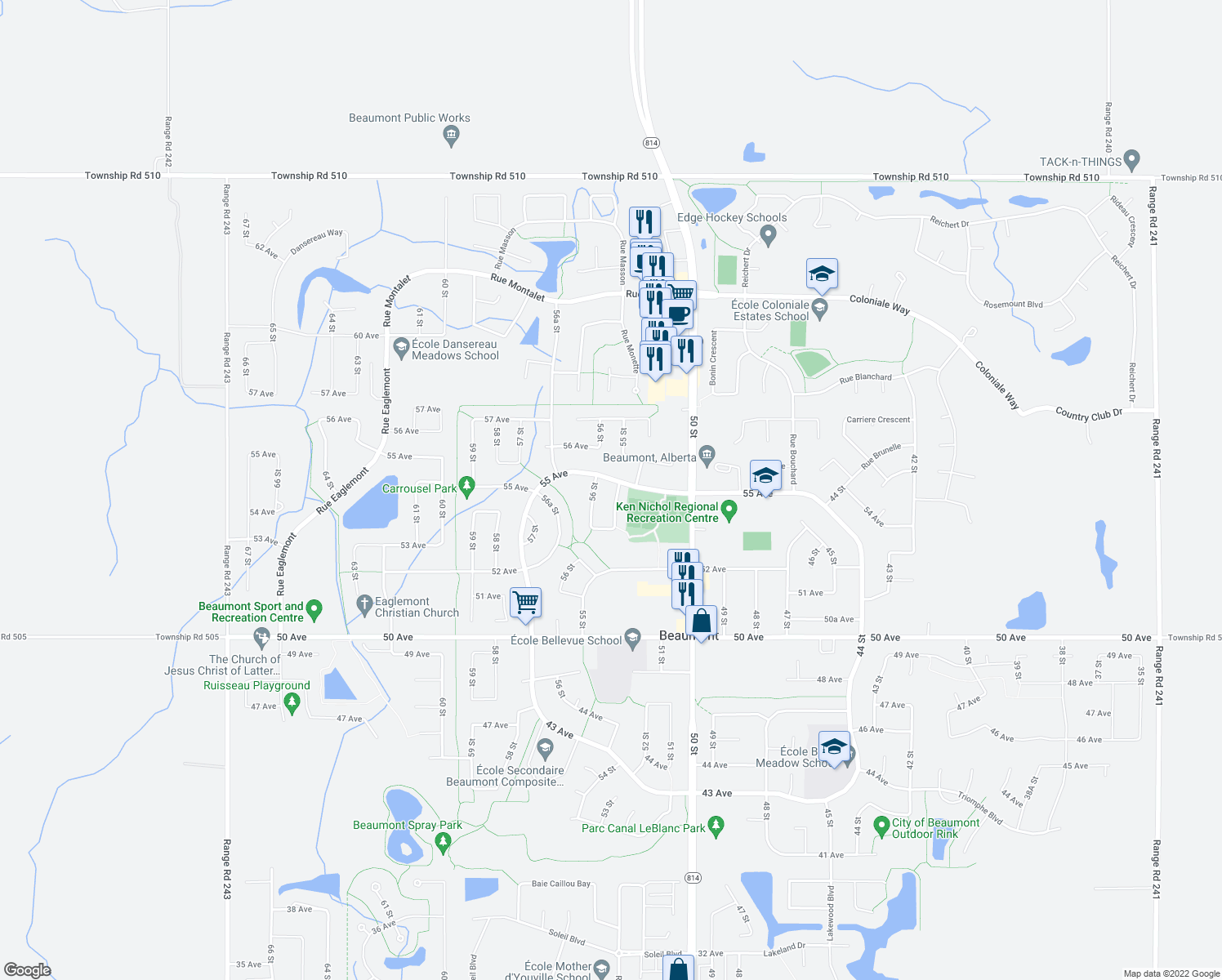 map of restaurants, bars, coffee shops, grocery stores, and more near 5424 55 Street in Beaumont
