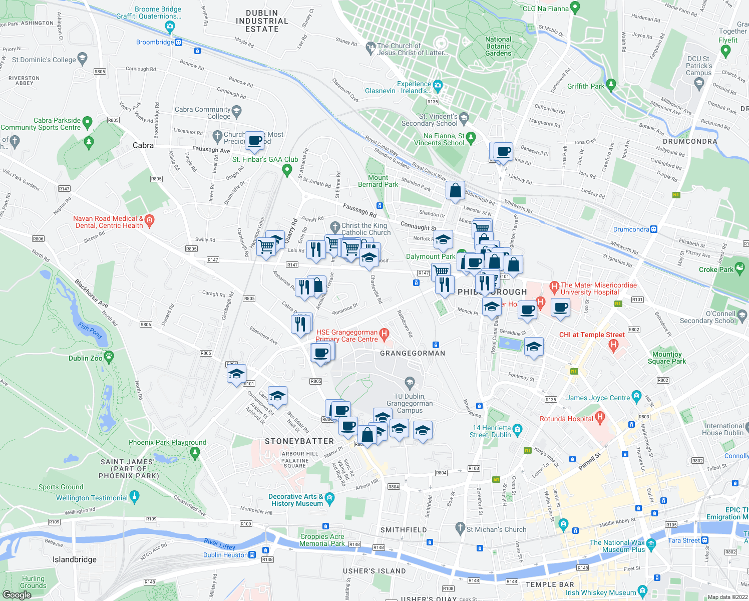 map of restaurants, bars, coffee shops, grocery stores, and more near 7 Charleville Road in Dublin