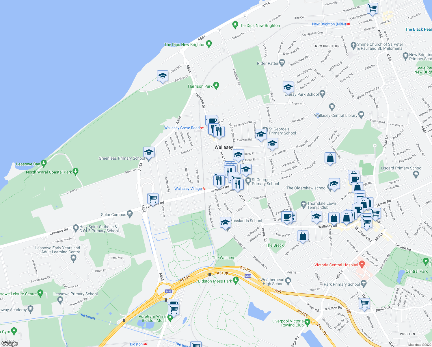 map of restaurants, bars, coffee shops, grocery stores, and more near Village Way in Merseyside