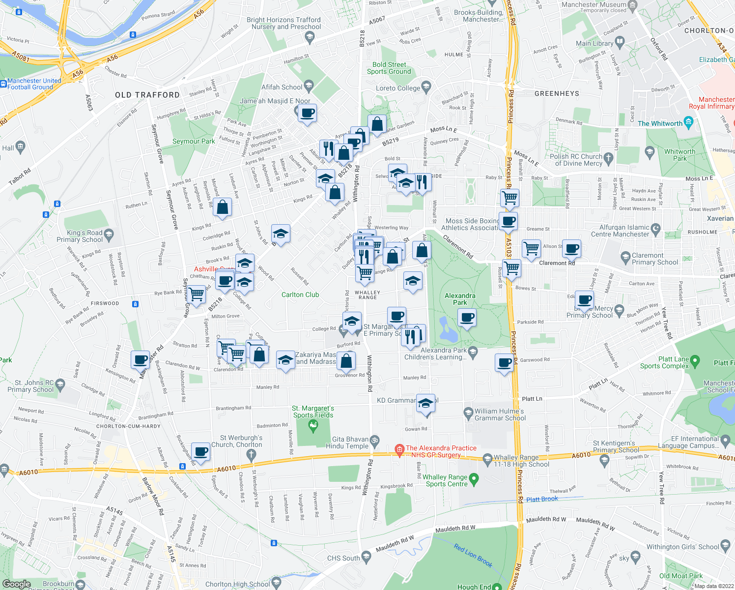 map of restaurants, bars, coffee shops, grocery stores, and more near in Manchester