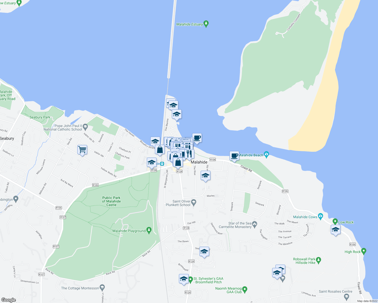 map of restaurants, bars, coffee shops, grocery stores, and more near 19A The Green in Malahide