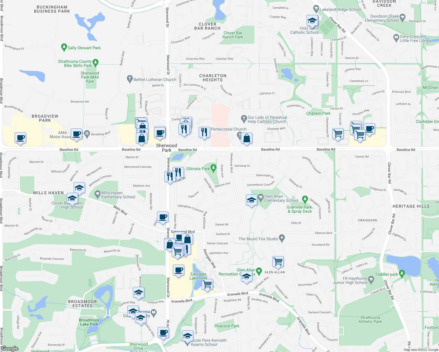 map of restaurants, bars, coffee shops, grocery stores, and more near 10 Grant Avenue in Sherwood Park