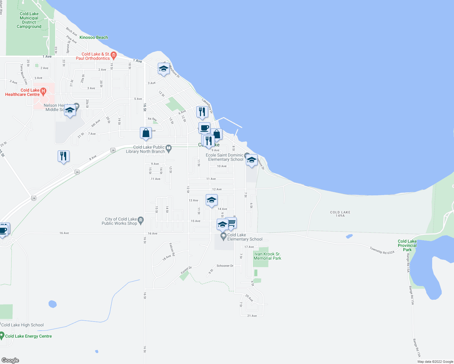 map of restaurants, bars, coffee shops, grocery stores, and more near 803 11 Avenue in Cold Lake