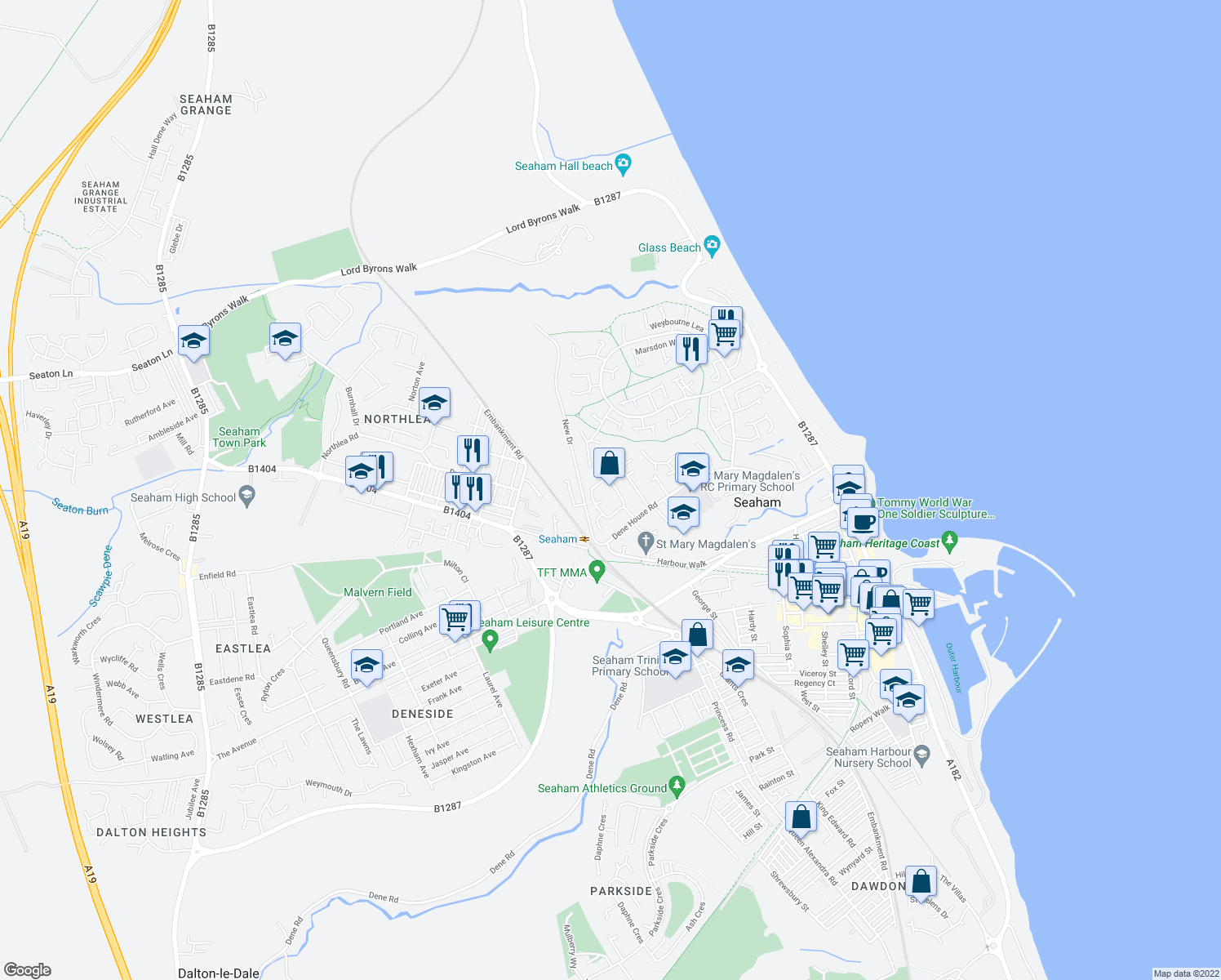map of restaurants, bars, coffee shops, grocery stores, and more near Derwent Close in County Durham