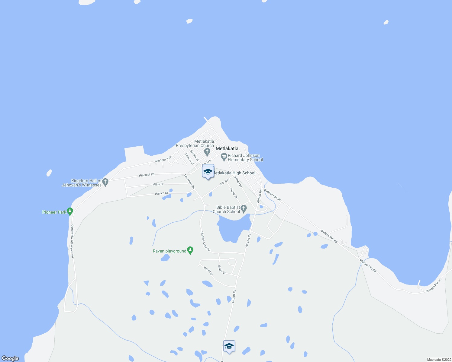map of restaurants, bars, coffee shops, grocery stores, and more near 8th Avenue in Metlakatla
