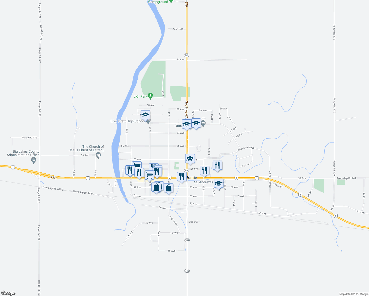 map of restaurants, bars, coffee shops, grocery stores, and more near 5501-5513 48 Street in High Prairie